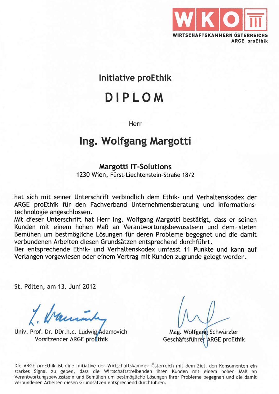 Diplom ARGE proEthik Margotti IT-Solutions
